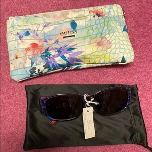 Guess wristlet and sunglasses
